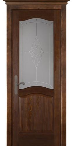 Межкомнатная дверь из массива со стеклом Лео Браш орех