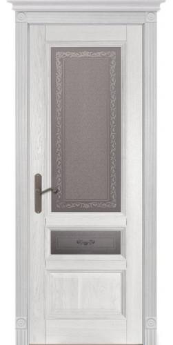 Дверь Аристократ №3 ПО каленое с узором белый