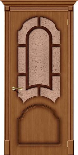 Дверь шпонированная со стеклом Соната цвет Ф-11 (Орех)