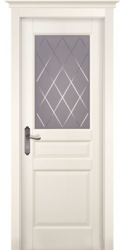 Дверь из массива ольхи межкомнатная Валенсия со стеклом цвет слоновая кость