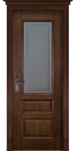 Дверь межкомнатная массив дуба Аристократ №2 античный орех со стеклом