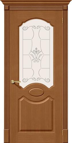 Дверь шпонированная со стеклом Селена цвет орех