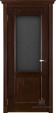 Дверь межкомнатная массив дуба Селена античный орех со стеклом