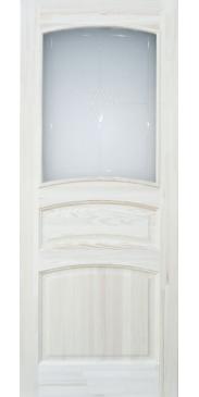 Дверь межкомнатная из массива сосны М 16 под окраску со стеклом