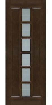 Дверь межкомнатная из массива сосны М 11 темный лак со стеклом