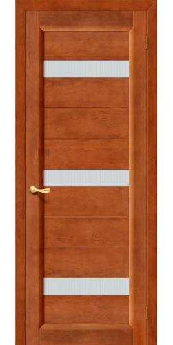 Межкомнатная дверь из массива со стеклом Вега темный орех тон 31
