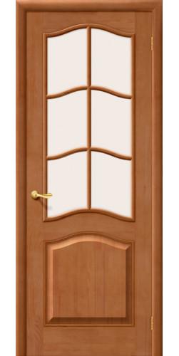 Дверь межкомнатная из массива сосны М7 решётка светлый лак со стеклом