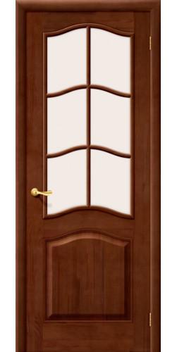 Дверь из массива М7 со стеклом решётка цвет тёмный лак