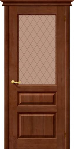 Дверь межкомнатная из массива сосны М5 тёмный лак со стеклом