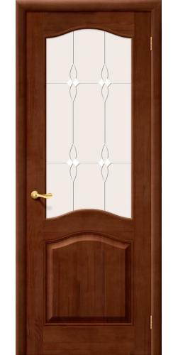 Межкомнатная дверь из массива со стеклом М 7 темный лак тон 31
