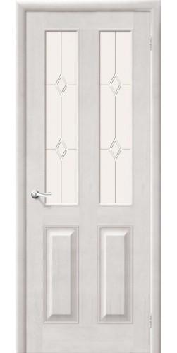 Дверь из массива М15 со стеклом цвет белый воск