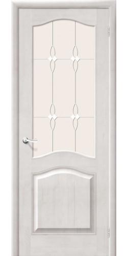 Межкомнатная дверь из массива со стеклом М7 белый воск