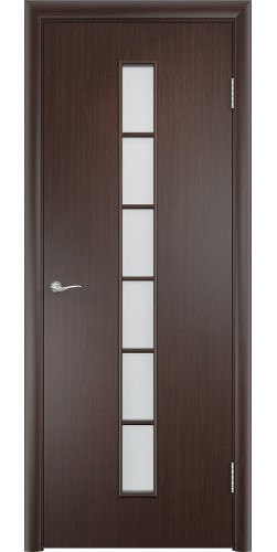 Дверь межкомнатная со стеклом Лесенка цвет венге
