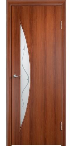 Межкомнатная дверь ламинированная со стеклом Парус (ф) итальянский орех