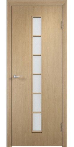 Межкомнатная дверь ламинированная со стеклом Лесенка беленый дуб