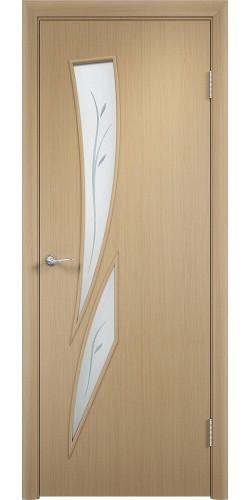 Межкомнатная дверь ламинированная со стеклом Стрелиция (ф) беленый дуб