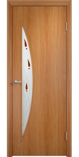 Межкомнатная дверь ламинированная со стеклом Парус (в) миланский орех