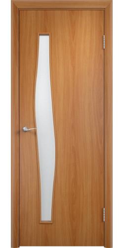 Дверь межкомнатная со стеклом Волна цвет миланский орех