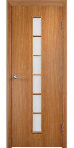 Дверь межкомнатная со стеклом Лесенка цвет миланский орех