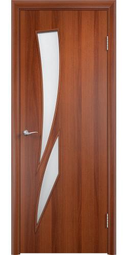 Межкомнатная дверь ламинированная со стеклом Стрелиция итальянский орех