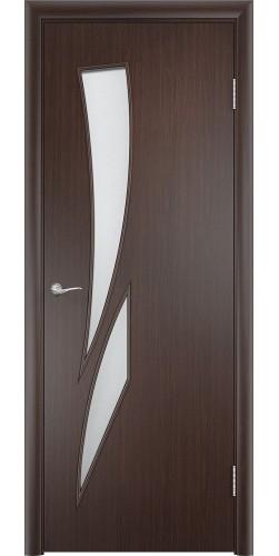 Межкомнатная дверь ламинированная со стеклом Стрелиция венге