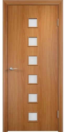 Межкомнатная дверь ламинированная со стеклом Квадраты миланский орех