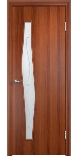 Дверь межкомнатная со стеклом Волна цвет итальянский орех