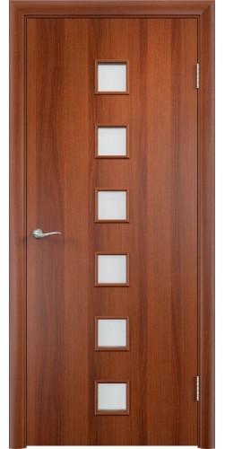 Межкомнатная дверь ламинированная со стеклом Квадраты итальянский орех