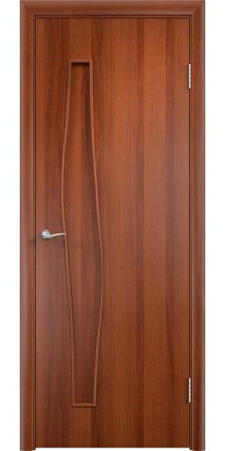 Дверь межкомнатная глухая Волна цвет итальянский орех