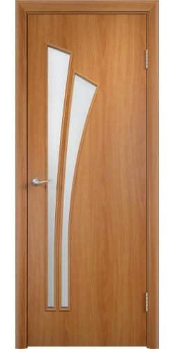 Межкомнатная дверь ламинированная со стеклом Ветка миланский орех