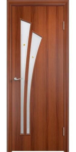 Межкомнатная дверь ламинированная со стеклом Ветка (ф) итальянский орех