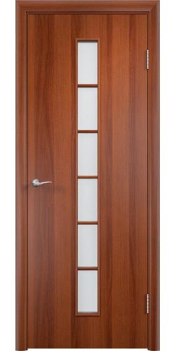 Межкомнатная дверь ламинированная со стеклом Лесенка итальянский орех