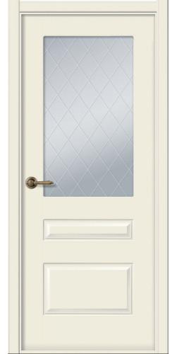 Дверь межкомнатная эмаль со стеклом Роялти цвет жемчуг