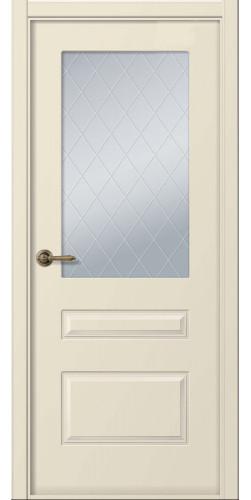 Дверь межкомнатная эмаль со стеклом Роялти цвет слоновая кость