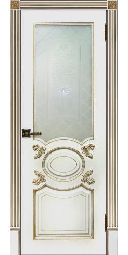 Межкомнатная дверь шпонированная со стеклом Аристократ белая эмаль