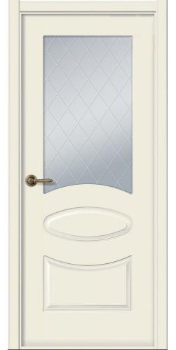 Межкомнатная дверь окрашенная со стеклом Элина жемчуг
