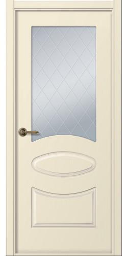Межкомнатная дверь окрашенная со стеклом Элина слоновая кость
