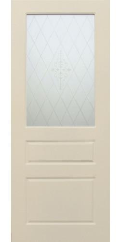 Дверь межкомнатная Честер со стеклом цвет кремовая эмаль