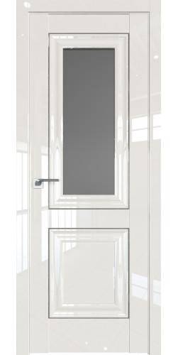 Дверь межкомнатная глянцевая 28L со стеклом цвет магнолия люкс