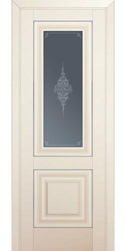 Дверь межкомнатная экошпон со стеклом 28U цвет магнолия сатинат