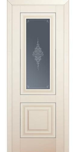 Межкомнатная дверь экошпон со стеклом 28U магнолия сатинат