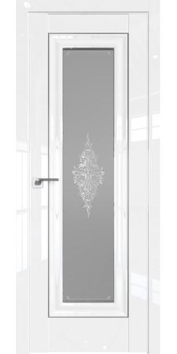 Дверь межкомнатная глянцевая 24L со стеклом цвет белый люкс