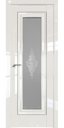 Дверь межкомнатная глянцевая 24L со стеклом цвет магнолия люкс