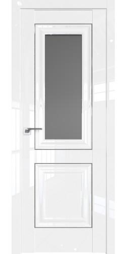 Дверь межкомнатная глянцевая 28L со стеклом цвет белый люкс