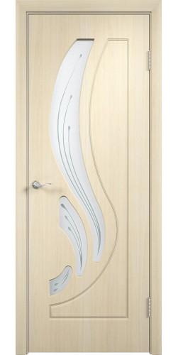 Межкомнатная дверь ПВХ со стеклом Лиана беленый дуб
