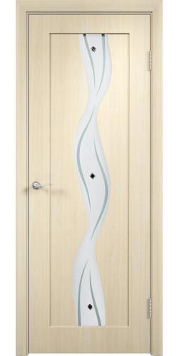 Межкомнатная дверь ПВХ со стеклом Вираж беленый дуб