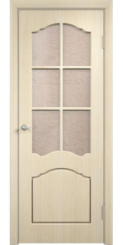 Межкомнатная дверь ПВХ со стеклом Лидия беленый дуб