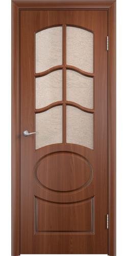 Межкомнатная дверь ПВХ со стеклом Неаполь итальянский орех