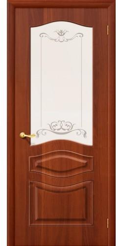 Межкомнатная дверь ПВХ со стеклом Модена итальянский орех