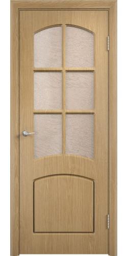 Межкомнатная дверь ПВХ со стеклом Кэрол дуб